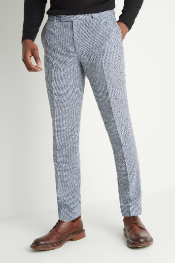 Moss London Slim Fit Blue Gingham Trousers