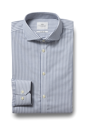Moss London Premium Extra Slim Fit Blue Single Cuff Textured Stripe Zero Iron Shirt