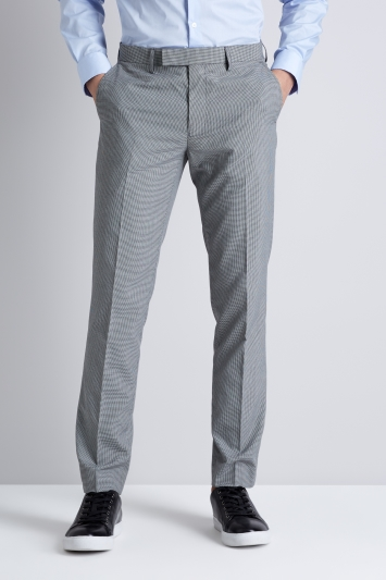 Moss London Slim Fit Black and White Puppytooth Formal Trousers