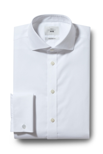 Moss 1851 Tailored Fit White Double Cuff Zero Iron Shirt