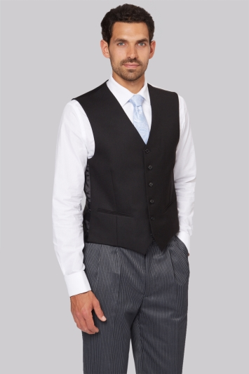 Moss Bros Regular Fit Black Herringbone Waistcoat