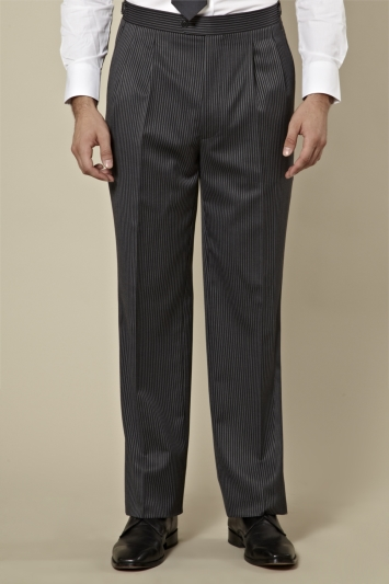 Moss Bros Regular Fit Grey and Black Stripe Morningwear Trouser