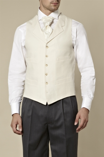 Moss Bros Covent Garden Tailored Fit Linen Waistcoat Cream