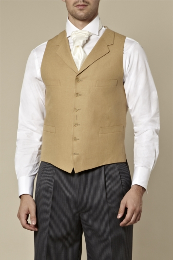 Moss Bros Covent Garden Tailored Fit Beige Linen Waistcoat