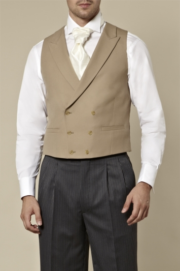 Moss Bros Covent Garden Tailored Fit Beige Double Breasted Waistcoat