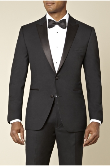 Lanificio F.lli Cerruti Dal 1881 Cloth Black Tailored Fit Peak Lapel Tuxedo