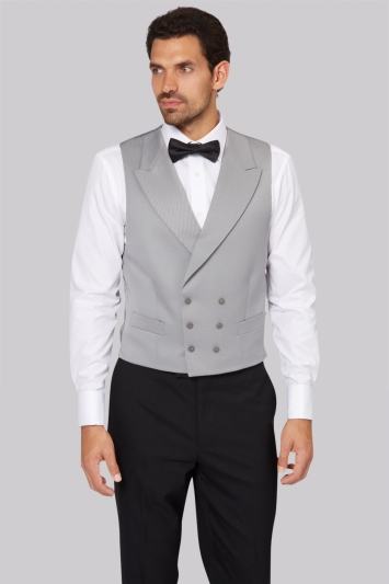 Moss Bros Covent Garden Tailored Dove Grey Fit Double Breasted Waistcoat