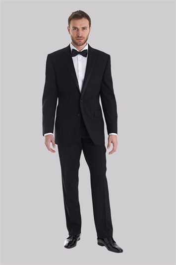 Moss Bros Covent Garden Tailored Fit Black Satin Edge Notch Dinner/Tuxedo Jacket
