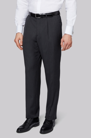 Moss Bros Charcoal Herringbone Regular Fit Trousers
