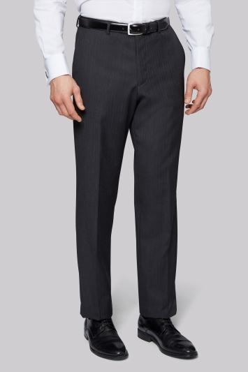 Moss Bros Flat Front Charcoal Herringbone Regular Fit Trousers