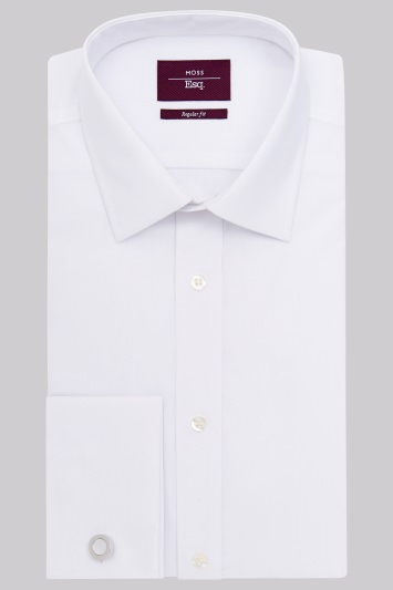Moss Esq. Regular Fit White Double Cuff Non Iron Shirt
