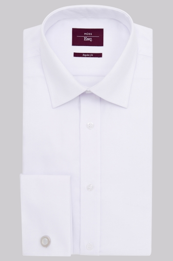 Moss Esq. Regular Fit White Double Cuff Mini Herringbone Non Iron Shirt