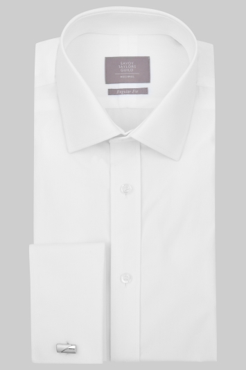 Savoy Taylors Guild Regular Fit White Double Cuff Shirt