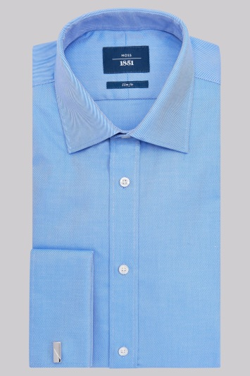 Moss 1851 Slim Fit Blue Double Cuff Twill Shirt