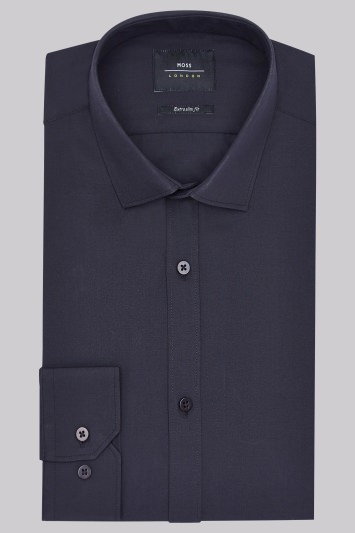 Moss London Extra Slim Fit Black Single Cuff Shirt