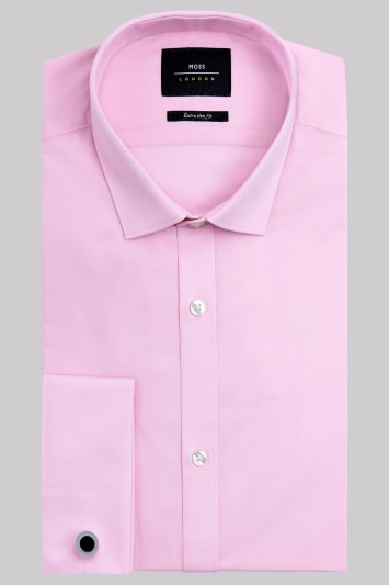 Moss London Extra Slim Fit Pink Double Cuff Shirt