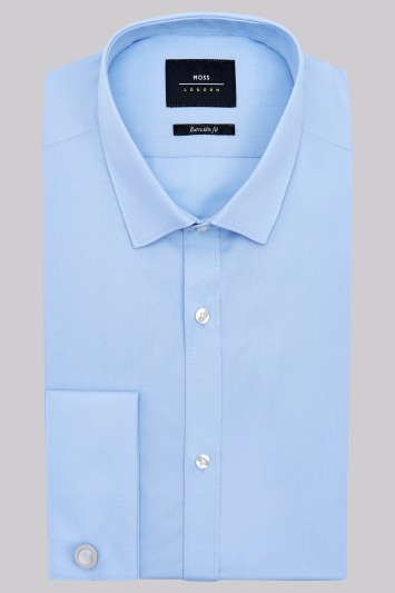 Moss London Extra Slim Fit Blue Double Cuff Shirt
