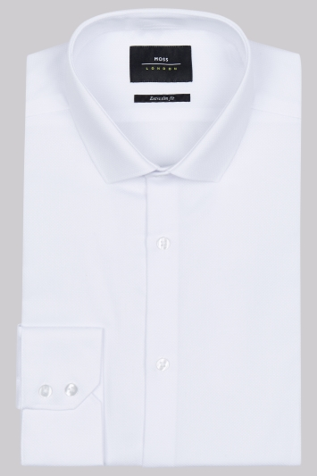 Moss London Extra Slim Fit White Single Cuff Dobby Shirt