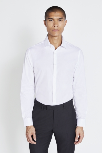 Moss London Extra Slim Fit White Single Cuff Easy Care Shirt