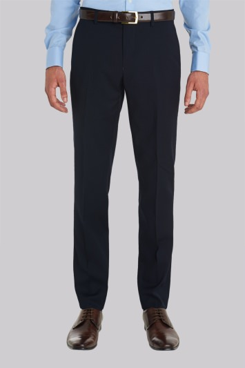 Moss London Slim Fit Plain Navy Trousers