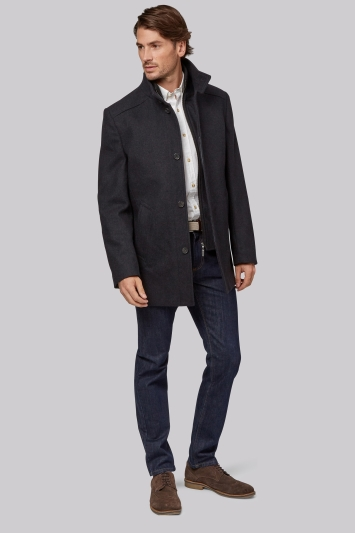 Moss 1851 Tailored Fit Charcoal Wool Funnel Jacket