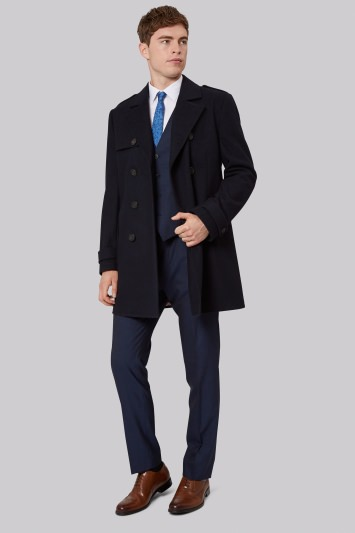French Connection Tailored Fit Navy Double Breasted Coat