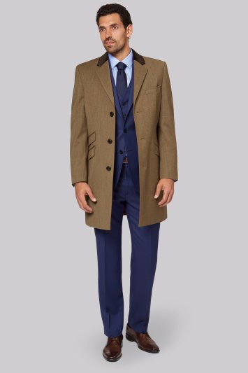 Savoy Taylors Guild Regular Fit Tan Check Covert Coat