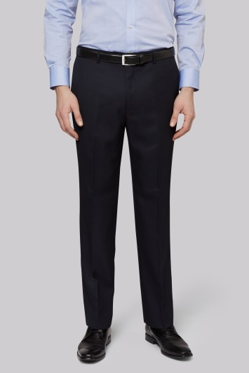 Moss Esq. Regular Fit Plain Navy Suit Trousers