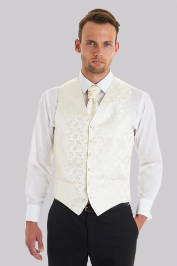 Moss 1851 Tailored Fit Cream Floral Waistcoat With Matching Cravat