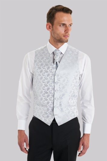 Moss 1851 Tailored Fit Silver Floral Waistcoat With Matching Cravat