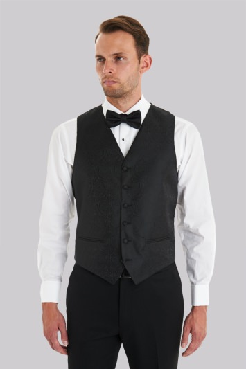 Moss 1851 Black Paisley Waistcoat With Matching Bow Tie