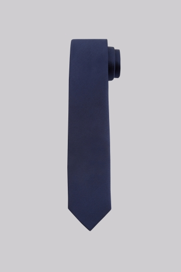 Moss London Navy Plain Skinny Tie