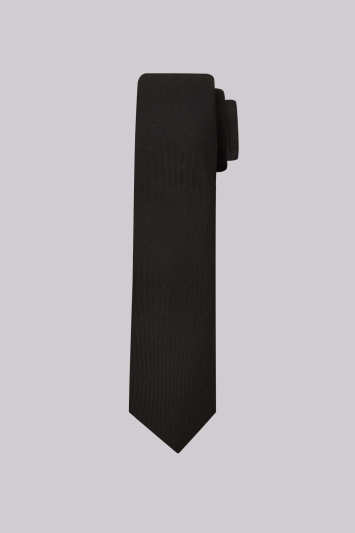 Moss London Black Plain Skinny Tie