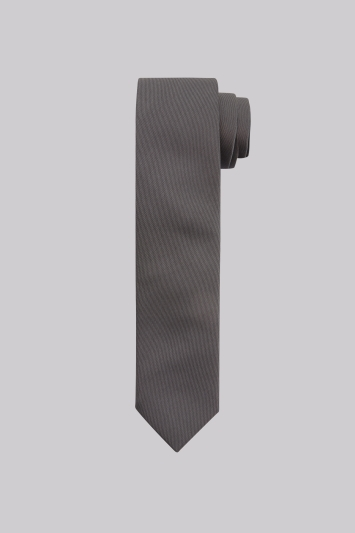 Moss London Grey Plain Skinny Tie