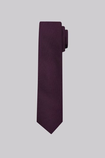Moss London Purple Plain Skinny Tie