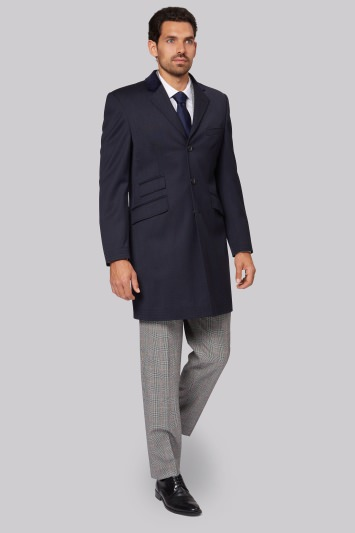 Savoy Taylors Guild Regular Fit Navy Covert Coat