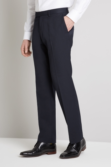 Moss Esq. Regular Fit Machine Washable Navy Trousers