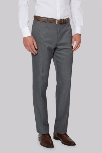 Moss Esq. Regular Fit Machine Washable Grey Trousers