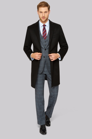 Savoy Taylors Guild Regular Fit Black Cashmere Overcoat
