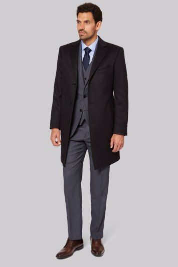 Savoy Taylors Guild Regular Fit Navy Cashmere Overcoat