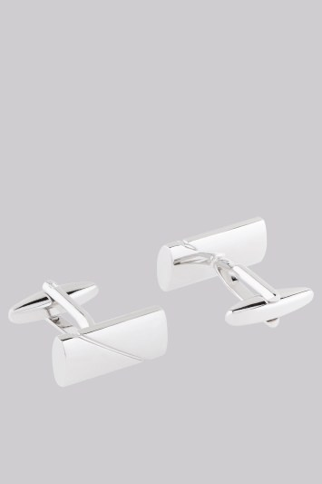 Moss 1851 Silver Split Brushed Rectangle Cufflink