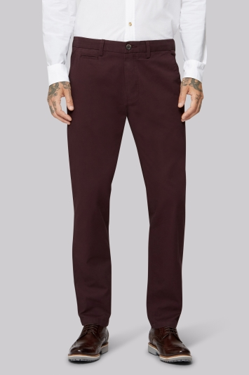 Moss 1851 Tailored Fit Aubergine Chino