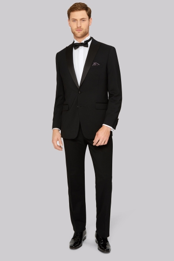 Moss Esq. Regular Fit Black Peak Lapel Tuxedo Jacket