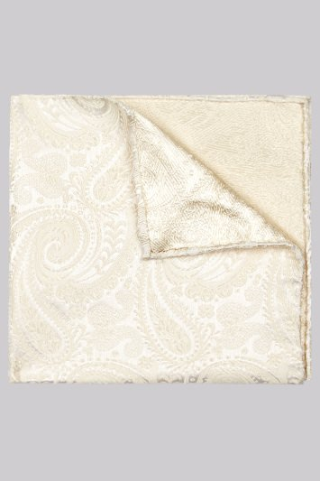 Moss 1851 Cream Paisley Silk Pocket Square