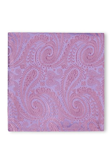 Moss 1851 Mulberry Paisley Silk Pocket Square