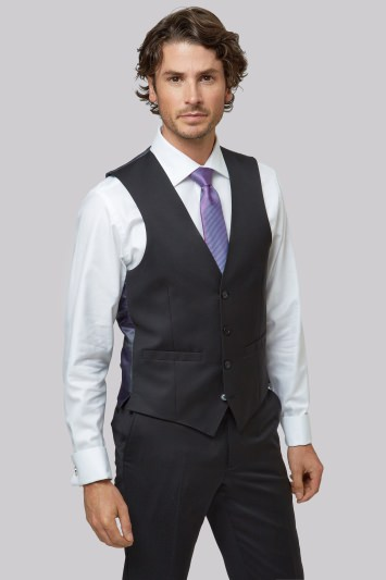 Moss 1851 Tailored Fit Black Waistcoat
