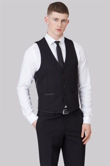 Moss London Slim Fit Black Dress Waistcoat