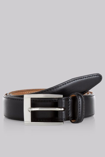 Moss 1851 Black Real Leather Belt