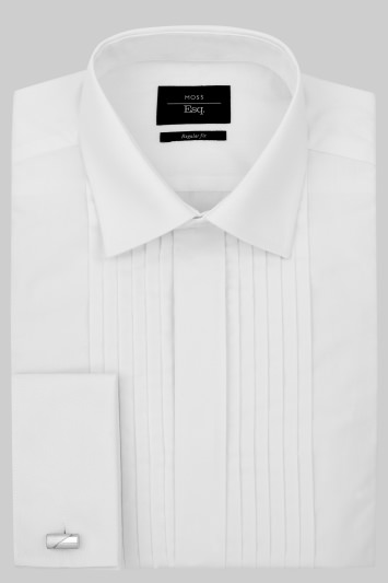 Moss Esq. Regular Fit White Double Cuff Dress Shirt