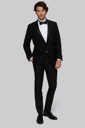 Moss 1851 Tailored Fit Black Satin Peak Lapel Tuxedo Jacket